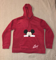 VTG Disney Mickey Mouse Size M Red Fleece Hoodie Pullover Comfy