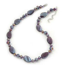 Collar de Abalorios de vidrio púrpura brillante en Plata Chapado - 42cm longitud/6cm Photo
