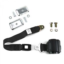 2pt Black Standard Buckle Retractable Lap Seat Belt w/ Flat Plate Hardware