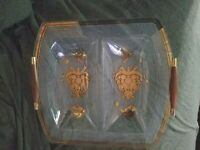 Vintage MCM Georges Briard Gold & Clear Bent Glass Divided Dish Wood Handles