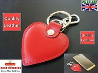 Fabulous Love Heart Leather Keyring Fob Red Quality Gift For Her Free Gift Wrap
