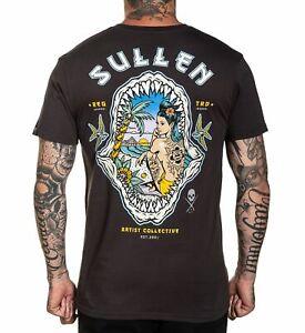Sullen Shark Sunset Nautical Pin Up Black Grey Tattoo Artist T Shirt M-3XL UK