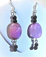 PINK  AGATE  STRIPED EARRING BLACK ONYX BEADS STERLING SILVER FRENCH HOOK