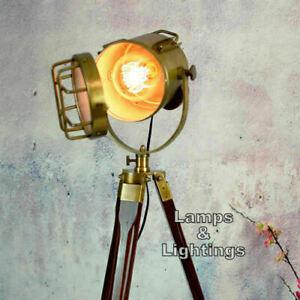 Vintage Spotlight Searchlight Vintage Brass Finish Spotlight Floor Lamp
