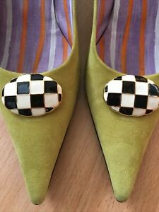 Bruno Magli Shoes Lime Green Suede Leather Kitten Heels Hand Made In Italy 38.5
