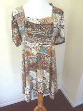 New Brown & Aqua Abstract Print Ruched Babydoll Tunic Top Drip Hem Size 2X