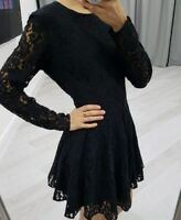 H&M beautiful black lace skater dress long sleeve size S EUR 36
