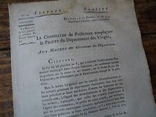 LORRAINE VOSGES REVOLUTION 1800 CIRCULAIRE MAIRE MEMBRE PRESIDENT CONSEIL