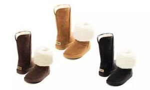 Snow Paw Women's Suede Merino Wool Lining Boots Shoes Size New