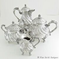 19C ANTIQUE FRENCH STERLING SILVER TEA COFFEE MILK POT SUGAR BOWL SERVING SET 4P