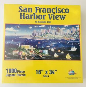 """1000 - """"SAN FRANCISCO HARBOR VIEW"""" - JIGSAW PUZZLE - UNOPENED - 16"""" X 34"""""""