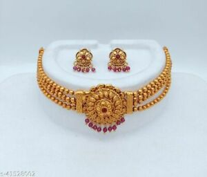 Indian Gold Plated Pearl Choker Fashion Traditional Bollywood Temple Jewelry Set