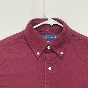 Ralph Lauren Blue Label Men's Corduroy Shirt Maroon Small