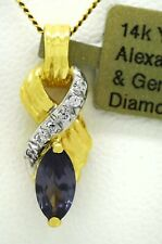 ALEXANDRITE 1.63 Cts & DIAMONDS PENDANT 10k Yellow  Gold *** Brand New