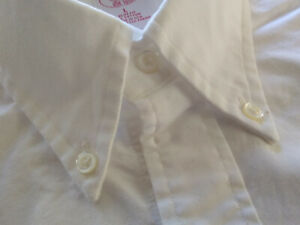 NWOT Brooks Brothers White Oxford Cloth Button Down Collar Small 15-33 Slim Fit