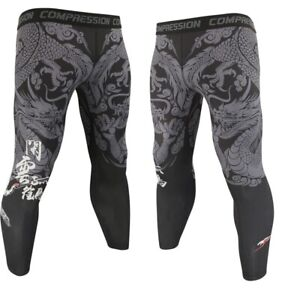 Dragon MMA Bjj Spats Mens Compression Leggings No Gi Base Layer Muay Thai Tights
