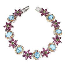 Oval Swiss Blue Topaz 8x6mm Rhodolite Sapphire Gems 925 Sterling Silver Bracelet