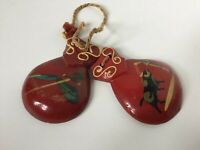 Authentic Vintage Spanish Wooden Castanets Musical Wood Percussion Instrument
