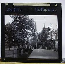 c1900s ~ DELFT Canal and Spires ~ HOLLANDGlass Lantern Photo Slide