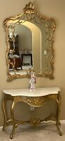 Antique 19th Century French Louis XIV Gilt Wood Marble Top Console With Mirror