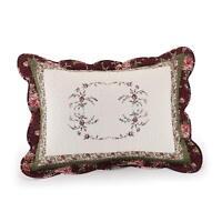 BEAUTIFUL WHITE GREEN PURPLE BURGUNDY VINE ROSE FLORAL QUILT BEDSPREAD SHAM