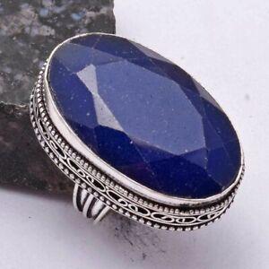 Blue Sapphire Ethnic Handmade Antique Design Ring Jewelry US Size-7 AR 40983