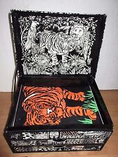 RoseArt Felt Stationary / Jewelry Tiger Design Box with Cards