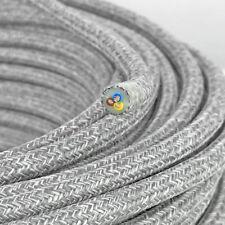 Textilkabel, Leitung Textilfaser umflochten, rund, Leinen grau, 3x0,75 H03VV
