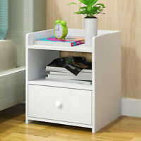 White Bed Side End Table 1 Drawer Cabinet Wooden Storage Nightstand Shelf - USA
