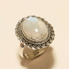 Sterling Silver Boho Vintage Jewelry Natural Blue Flame Moonstone Filigree Ring