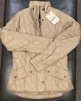 NWTs Barbour Women's Flyweight Cavalry Quilted Jacket. 4 US / 8 UK. Dark Stone