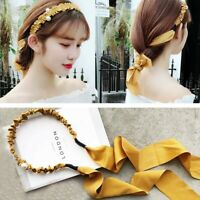 Sweet Women Pearl Ribbon Tie Hairband Headband Hair Band Adjustable Hair Hoop