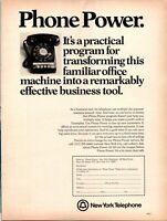 Vintage Print Ad 1973 New York Telephone Phone Power Office Business Tool