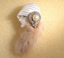 LADY HEAD FACE Porcelain-Look Resin Brooch Pin Figural Flapper Fur hair Handmade