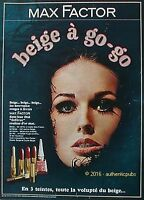 PUBLICITE MAX FACTOR ROUGE A LEVRES BEIGE VERNIS DE 1962 FRENCH AD PUB VINTAGE