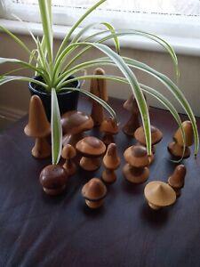 Set of 15 Vintage Hand Crafted Treen Mushrooms/toadstools.