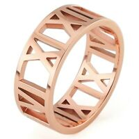 Stainless Steel - Rose Gold Plated Hollow Roman Numeral Band Ring (FR403)