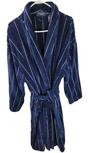 Nautica Sleepwear One Size Navy Blue Plush Shawl Long Sleeve Wrap Style Robe
