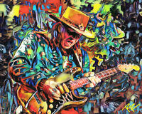 Stevie Ray Vaughan Art Print, Blues Canvas, SRV Painting Print