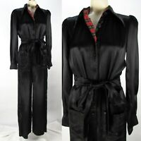 Vintage 80s McClintock Black Satin Jumpsuit M Belted Tie Wide Leg Pockets