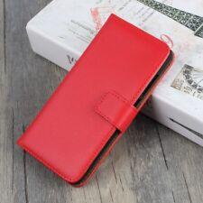 Huawei p10 Lite Wallet Case Genuine Split Cuir Veritable Book Étui Housse Rouge