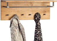 Wandgarderobe Garderobenpaneel Hakenleiste Garderobe BOLTON Wildeiche Massiv Neu