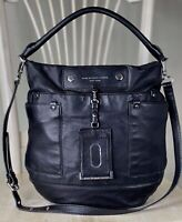 MARC BY MARC JACOBS Preppy Hobo BLACK Leather Large Convertible Crossbody Purse