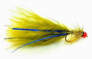 3 Red HOT HEAD Olive BLUE FLASH DAMSEL Flies Trout Fly Fishing Size 10,12,14