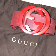 Gucci Red Suede G Buckle Belt Retail $500 +