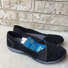 New Dr Scholl's Paloma  Casual Flat Memory Foam Womens Suede Black Shoes Size 7