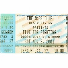 Five For Fighting Concert Ticket Stub Washington Dc 11/3/01 The 9:30 Club Rare
