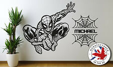 SPIDERMAN Personalised Any Name Wall Art bedroom Decal with extra web/names