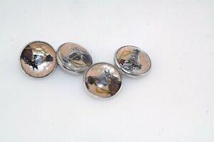Vtg Sterling Silver Reverse Painted Crystal Horse Head Cufflinks