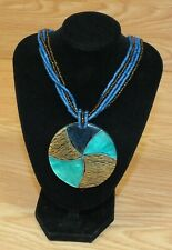 Unbranded Blue Brown & Turquoise Round Pendant Nautical Style Women's Necklace